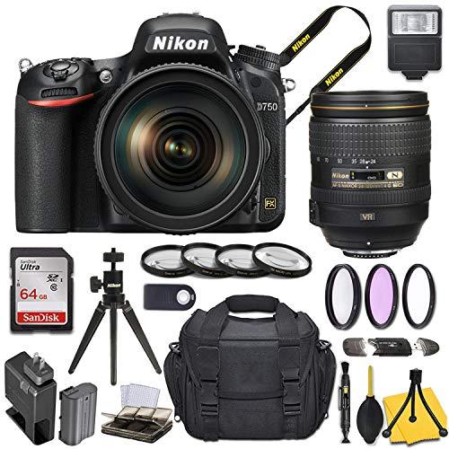 Nikon D750 DSLR Camera with AF-S NIKKOR 24-120mm f/4G ED VR Lens + Basic Travel Kit ()