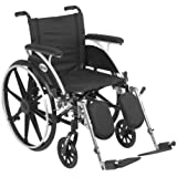 Drive Medical Viper Wheelchair with Various Flip Back Desk Arm Styles and Front Rigging Options, Flip Back Removable Full Arms/Elevating Leg Rests, Black, 18 Inch