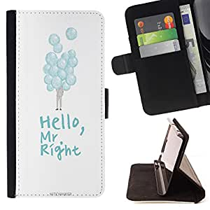 King Case - FOR LG G2 D800 - hello Mr right - Prima caja de la PU billetera de cuero con ranuras para tarjetas, efectivo Compartimiento desmontable y correa para la mu?eca