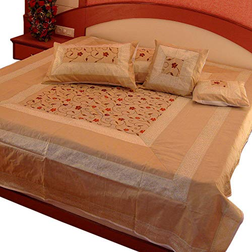 Marusthali Indian Banarasi Bedspread Designer Embroidery Silk Brocade Work - Pure Silk with Cushion Covers (Off - Bedspread Embroidery
