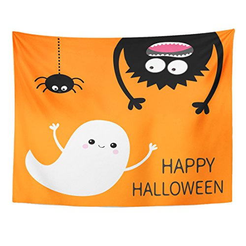 VaryHome Tapestry Happy Halloween Flying Ghost Spirit Monster Head Silhouette Eyes Hands Hanging Upside Down Black Spider Home Decor Wall Hanging for Living Room Bedroom Dorm 60x80 (Halloween Dorm Decorating Ideas)