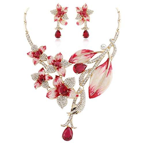 Ever Faith - Zircon cristal autrichien Fleur bijoux fixé rouge-Or-ton N03722-3