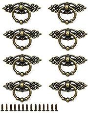 8 Stuks Antiek Ring Trekhandvat, Meubelknop, Meubelknop Vintage, voor Keuken Woonkamer Slaapkamer Kantoor (Brons)