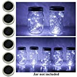 6 Pack Mason Jar Lights, 20 LED Solar Cold White Fairy String Lights Lids Insert for Garden Deck Patio Party Wedding Christmas Decorative Lighting Fit for Regular Mouth Jars …