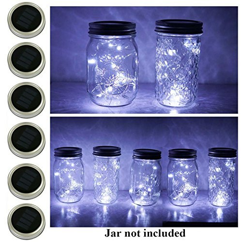 - 6 Pack Mason Jar Lights, 20 LED Solar Cold White Fairy String Lights Lids Insert for Garden Deck Patio Party Wedding Christmas Decorative Lighting Fit for Regular Mouth Jars ...