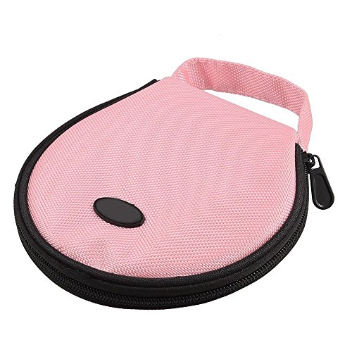 VNDEFUL Pink Nylon Zippered Design 20 Pcs Capacity CD DVD Holder Round Wallet Case