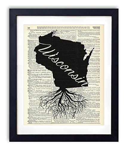 Wisconsin Home Grown Upcycled Vintage Dictionary Art Print 8x10