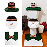3 Pcs Christmas Decorations Happy Santa Toilet Seat Cover Rug Tissue Box Bathroom Set (DARK GREEN)
