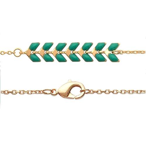 57bbd89a7334 Les Trésors de Lily  Q4156 - Pulsera chapada en Oro  Boho  Verde Dorada