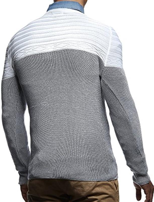 leif Nelson męski sweter z dzianiny Sweter Hoodie Basic V wycięcie w kształcie V-Neck Longsleeve bluza z długim rękawem Sweater drobno tkane ln1555: Odzież