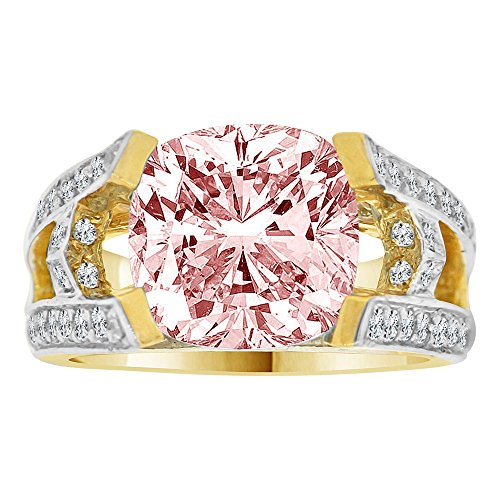 14k Yellow Gold White Rhodium, Fancy Estate Ring Created Cushion Cut CZ Synthetic Oct (Estate Ring)