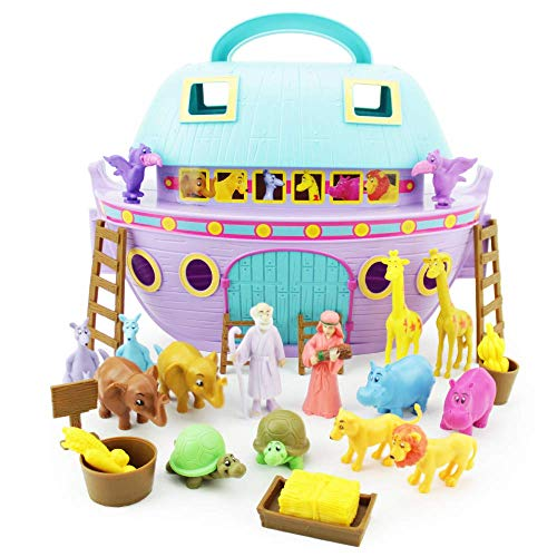 Boley Noah's Ark Playset - 29 Piece Bible Story Toys Play Set for Kids with Boat, Noah and Wife Figurines, Zoo Animals, and Barn Accessories - Biblical Play Sets for ()