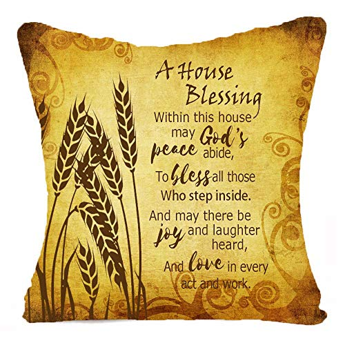 XMNTG A House Blessing Wheat Ears Retro Pattern Best Gift Square Throw Pillowcase Pillow Cover Cotton Linen Cushion Cover Family Decoration Case 18 Inch (A)