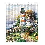 LB Vintage Seaside Coastal Lighthouse Painting Print Shower Curtain Set, Nautical Ocean Theme Decor for Bathroom, 70x70 Inch Shower Window Curtain Waterproof Anti Mold