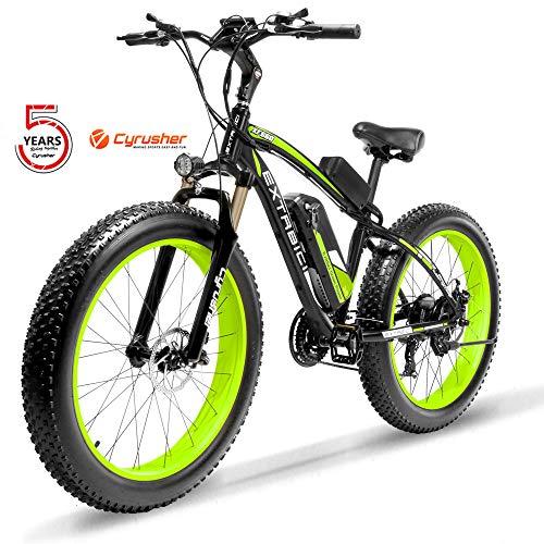 Cyrusher XF660-1000W Electric Bike 26 '' 4.0 Fat Tire Mountain Ebike 48V 13ah bike with Lithium-Ion Battery(Green)