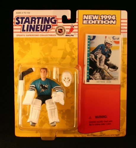 Starting Lineup Artus IRBE / SAN Jose Sharks 1994 NHL Action Figure & Exclusive Collector Trading Card