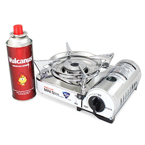 - Vulcanus MS-8000 Mini Butane Gas Stove, Stainless Steel top plaet. 9.6