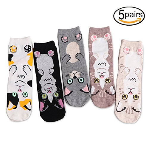 WILLIAM&KATE NEW Halloween Wool Socks Thickening Warm & Lovely Color Socks Winter&Fall 5-Pack (Gatito)