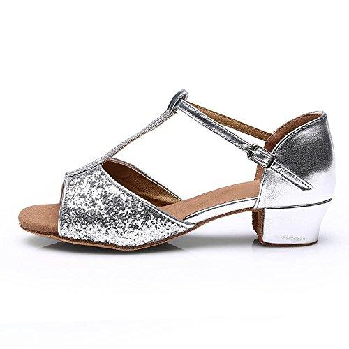 talons danse chaussures latine femmes Tango YFF bas de silver Bal TfwIYfqU