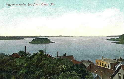 Lubec, Maine - Aerial View of Passamaquoddy Bay (16x24 Fine Art Giclee Gallery Print, Home Wall Decor Artwork Poster)