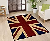 Large Traditional British Flag (UK Flag Union Jack) Style Carpet Traditional Oriental Area Rug 5ft x 8ft (Approx.)