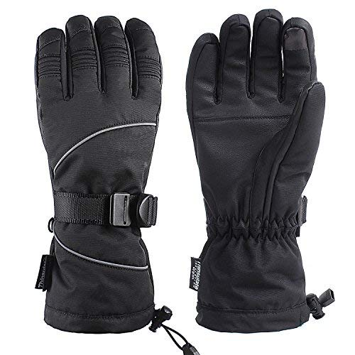 Unigear Ski Gloves, Waterproof Winter Snow Gloves with Sensitive Touchscreen Function (Black, Large)