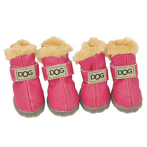WINSOON Dog Australia Boots Pet Antiskid Shoes Winter Warm Skidproof Sneakers Paw Protectors 4-pcs Set (Size 4, Pink)