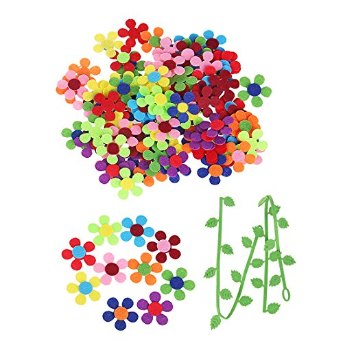 GEORLD 120 Pieces Felt Flowers Fabric Flower Embellishments & 2piece 16