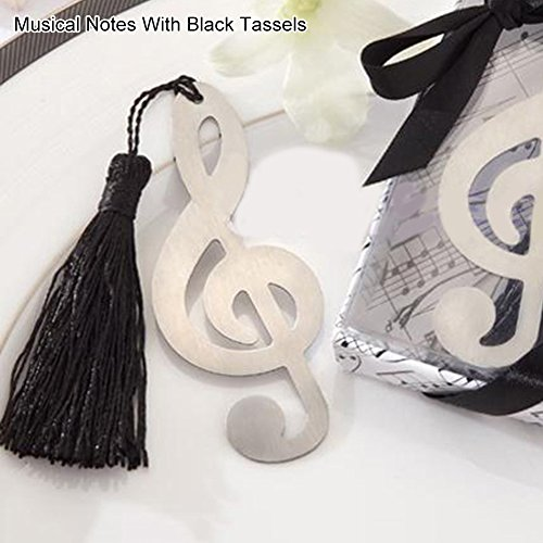 HEART SPEAKER Fashion Snowflake Butterfly Stainless Steel Tassel Bookmark Wedding Favor Gift size Musical Notes With Black Tassels