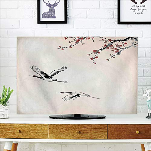 LCD TV dust Cover,Flying Birds Decor,Branches of Japanese Cherry Tree with Flying Swallows in The Air Spring Colors,Red Grey Ecru,3D Print Design Compatible 55