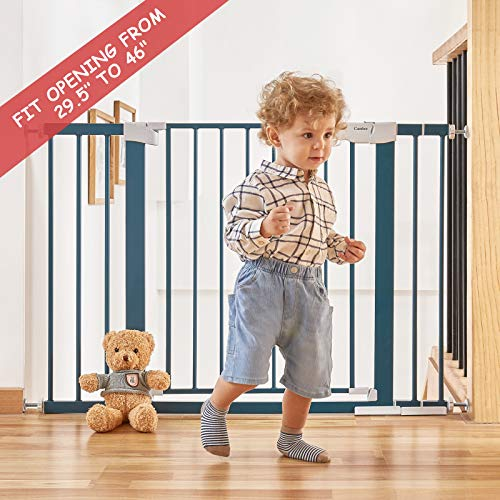 """51PQk%2Bkbk5L Cumbor 46""""Baby Gate for Stairs and Doorways, Extra Tall and Wide Auto Close Safety Child Gate, Easy Walk Thru Durable Dog Gate for The House. Includes (2)2.75-Inch and 8.25-Inch Extension(Blue)    Product Description"""