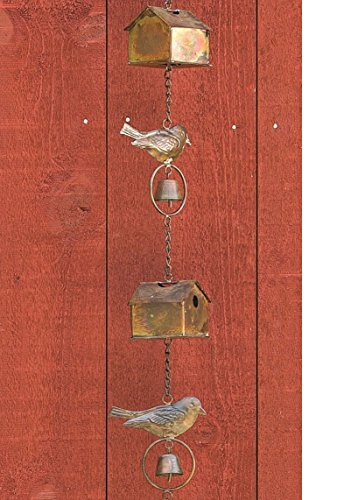 Ancient Graffiti Flamed Birdhouse with Bird and Bell Rain Chain, 4.5'' x 104'' x 4.5'' by Ancient Graffiti (Image #2)