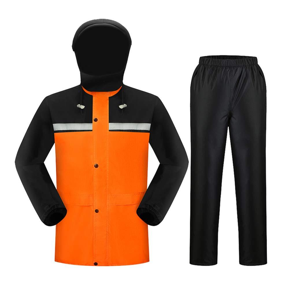Adult Raincoats Geyao Rain Pants Set Double Thick Men And Women Riding Battery Car Motorcycle Split Body Waterproof Raincoat (Color : Green, Size : M)