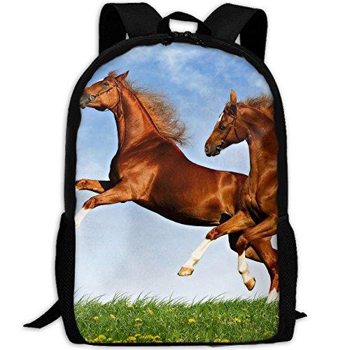 Two Horses Frolic On The Plain Spring Time Print Custom Casual School Bag Backpack Multipurpose Travel Daypack For ()