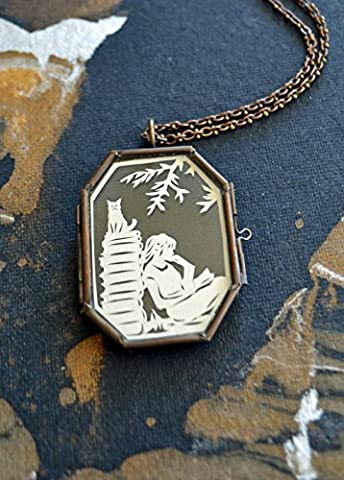 AFTERNOON READING in the PARK Locket - Hand-Cut Miniature Papercut Locket Necklace - Park Miniature