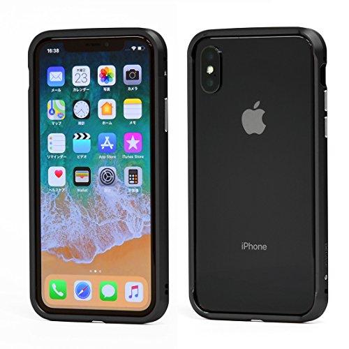 モック外側淡いDECASE iPhone XS/X 高精度アルミニウム バンパー ケース アイフォンXS/S テン (ブラック)