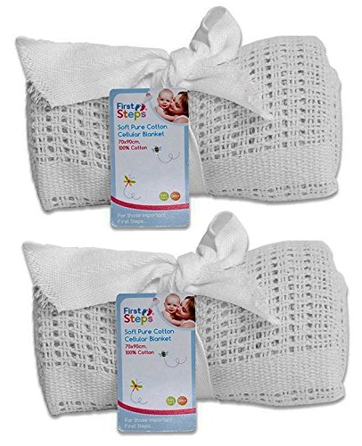 Cellular Blanket Soft Pure 100% Cotton Baby Comfort Newborn White Pack Of 2 RSW