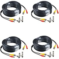 JerGO Professional Grade Siamese Combo Coaxial Cable Pre-made All-in-One BNC Video Power Cable for 1080P /720P, TVI, CVI, AHD and HD-SDI Camera and Analog CCTV Camera ( Black 150Ft )(4-Pack)