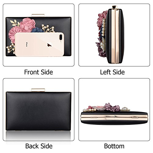 Flower Evening Wedding Bags New Cocktail Handbags Pearl Clutch Women's for Clutch Purse Black Wedding fit 5ptaqKOKfH