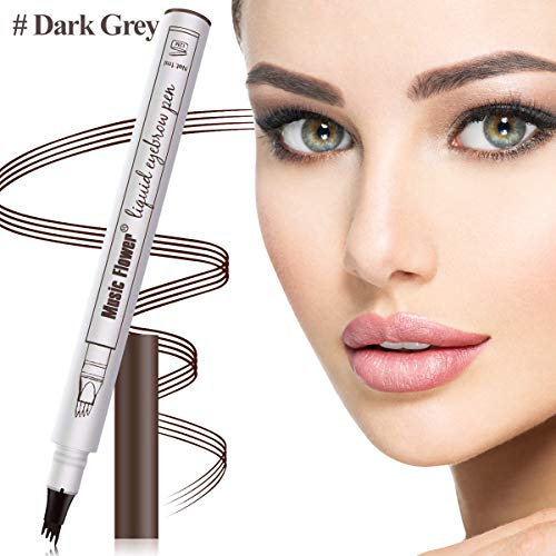 Aliceva Eyebrow Tattoo Pen, Waterproof & Smudge-Proof Microblading Eyebrow Pencil, Micro-Fork Tip Applicator for Daily Natural Eye Makeup (Dark ()