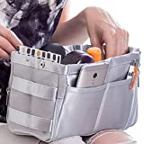 Purse Organizer for Handbag Tote Bag - Premium Insert - Dual Color Reversible and Expandable (Style 4, Silver Grey)