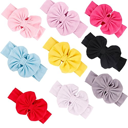 GBATERI 9 Pack Baby Girls Big Bow Cotton Baby Headbands Soft Turban Knotted Hairband Headwrap Bow Hair Hoops for Toddler Babies Kids Gift Set Headband Set Baby Bows