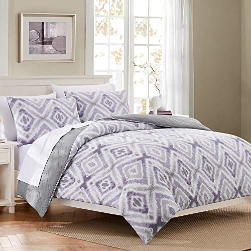 HeyDreamy Reversible Sateen Cotton 3-Piece Quilted Duvet Cover Set with Cotton Fill, 2-in-1 Bedding Set (Purple, King)