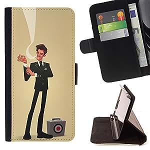 BullDog Case - FOR/Samsung Galaxy Core Prime / - / sir businessman yellow sales bulls eye /- Monedero de cuero de la PU Llevar cubierta de la caja con el ID Credit Card Slots Flip funda de cuer