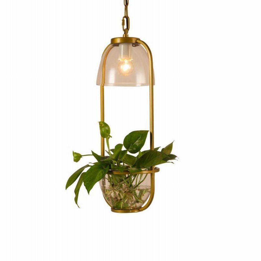 DEN Creative bedroom aisle green plant chandelier LED restaurant bar personality modern minimalist chandelier,A,One size