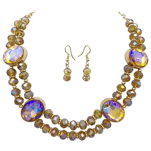 2 Row Layered Beveled Glass Beaded Boutique Statement Style Necklace and Dangle Earrings Set (Topaz Brown Iridescent)