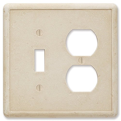 - Questech Travertine Tumbled Textured Wall Plate/Switch Plate/Outlet Cover (Single Toggle/Single Duplex Combination)