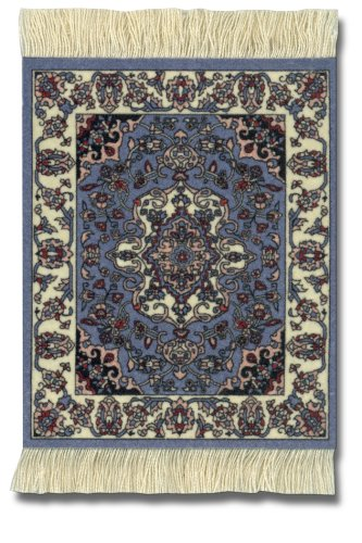 "Lextra (Contemporary Jaipur) CoasterRug, Blues, Ivory, and Pink, 5.5"" x 3.5"", Set of Four"