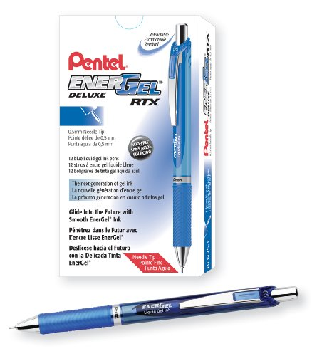 Pentel EnerGel Deluxe RTX Retractable Liquid Gel Pen, Fine Line, Needle Tip, Blue Ink, Box of 12 (BLN75-C) (Blue Pentel Retractable Pen)