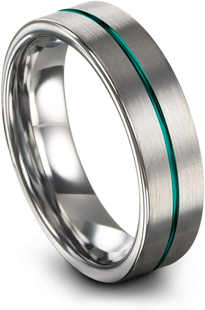 Chroma Color Collection Tungsten Carbide Wedding Band Ring 6mm for Men Women Green Red Blue Purple Black Copper Fuchsia Teal Center Line Flat Cut Brushed Polished